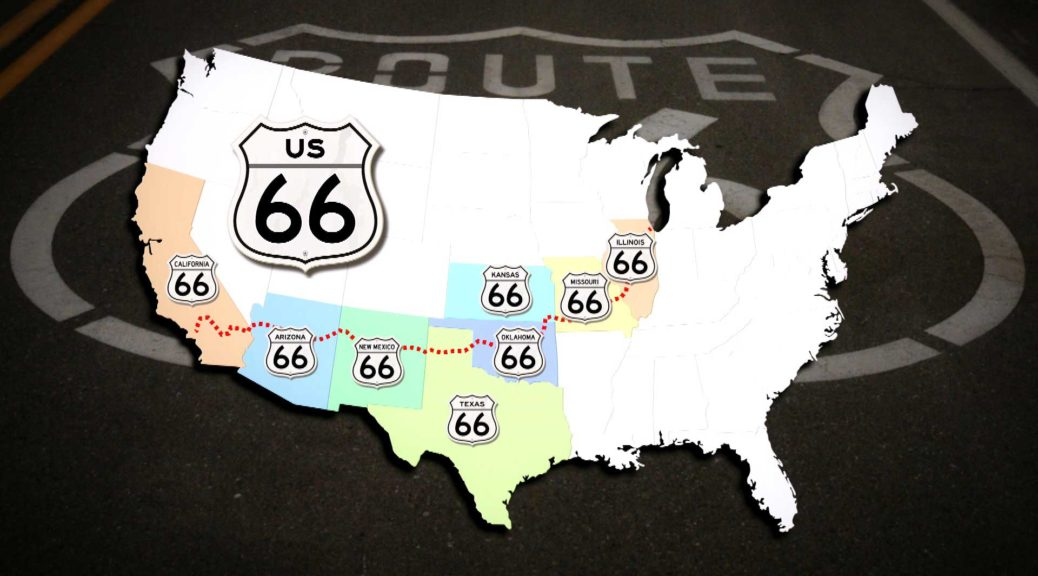 The Route 66 route map - ROUTE 66 ROADMOVIE - DOKUMENTATION on